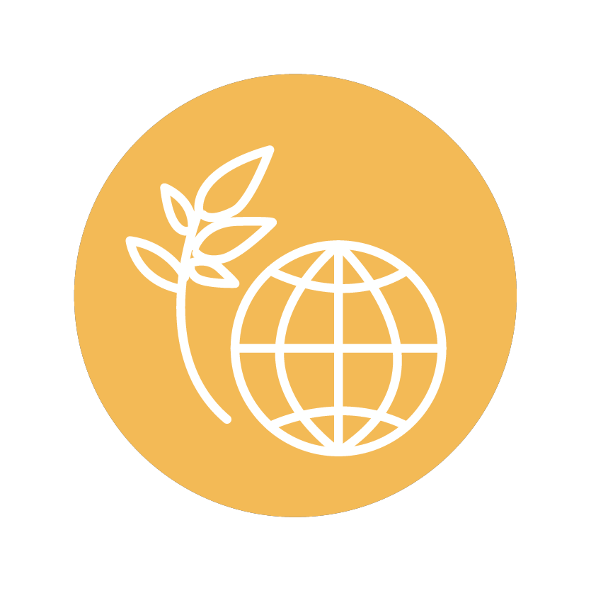 Climate & environment icon of a globe and branch