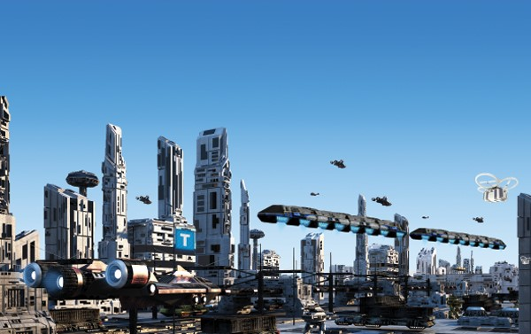 Rendering of futuristic city skyline