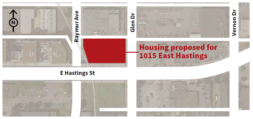 map of 1015 east hastings