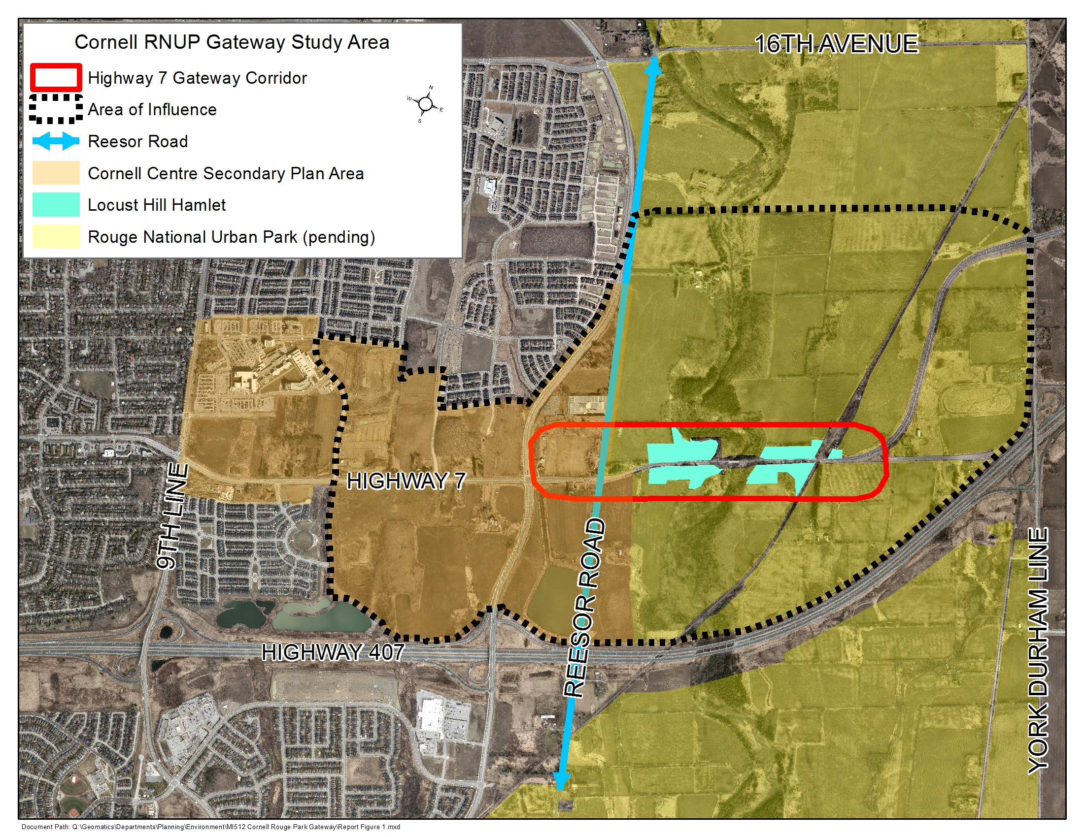 Study Area Map of Cornell Rouge National Urban Park Gateway