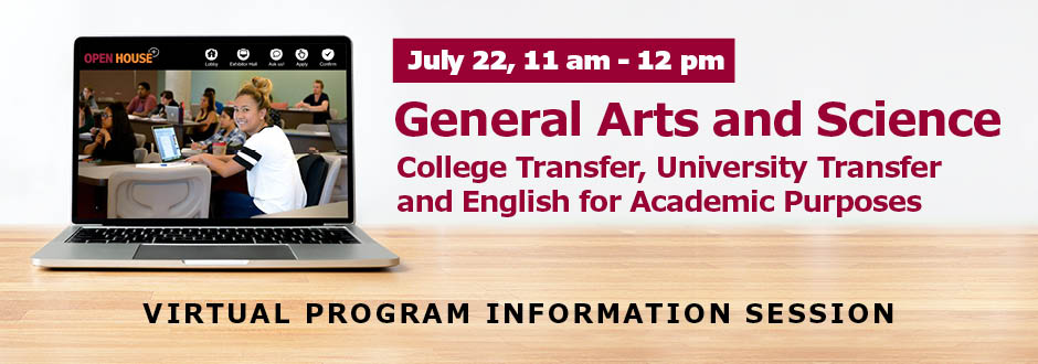 Computer on a desk with event information - General Arts and Science Information session - July 22 at 11 am.