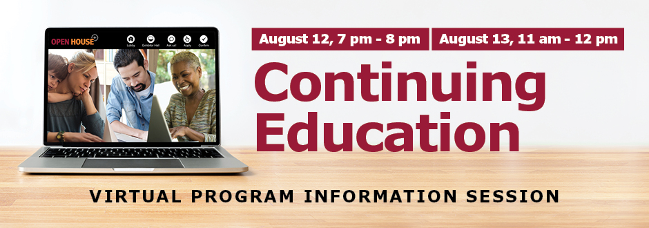 Computer on a desk with event detail - Continuing Education virtual information session