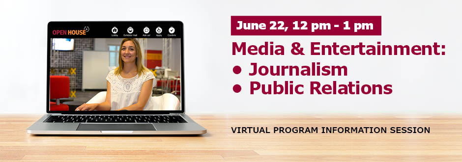 Computer on a table with event details - Journalism and PR session on June 22 at 12 pm