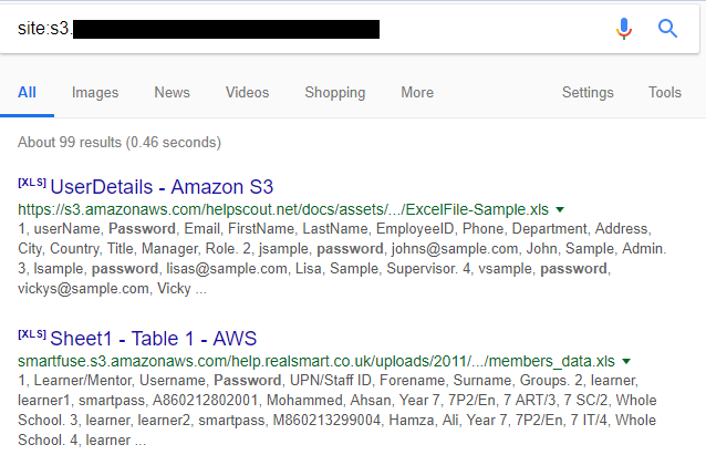 Figure 1 - Google search for open S3 Buckets