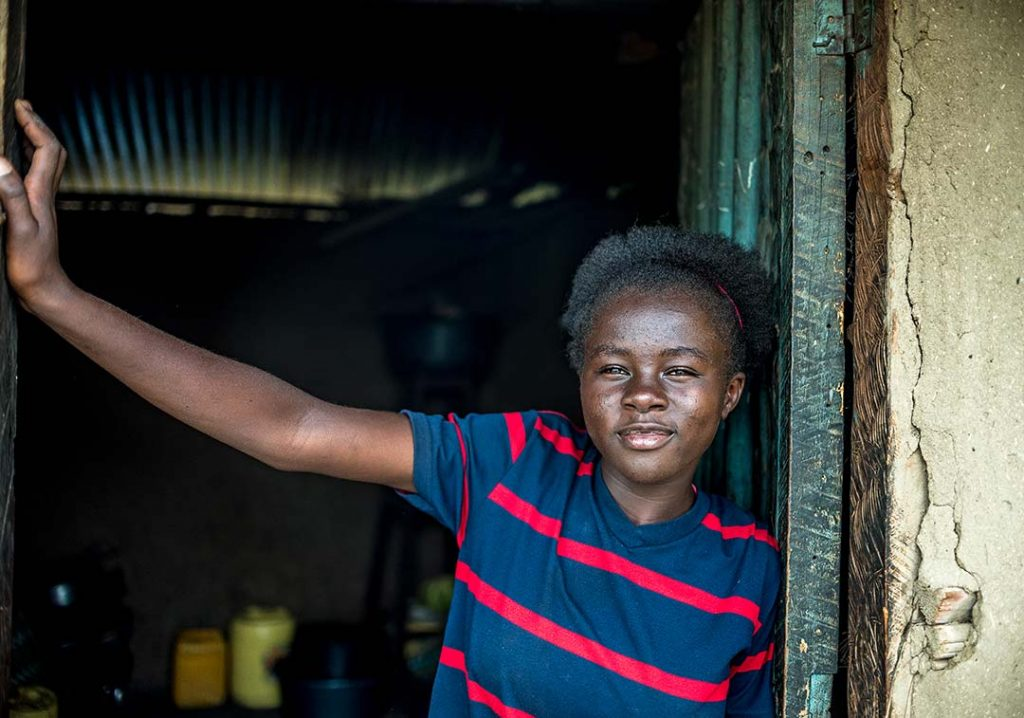 Synthia at her home in a village near Kisumu, Kenya.