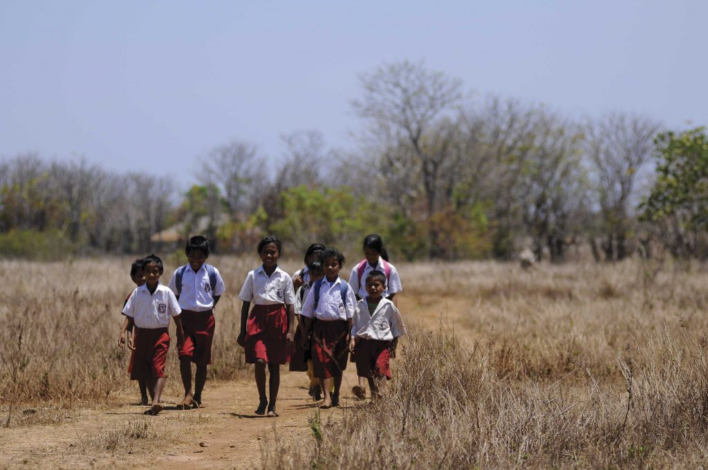 The Kamalapia children walk to school in a group on a dirt road. The nearest elementary school located 7 Km. School uniforms are a white shirt and red shorts or skirts.