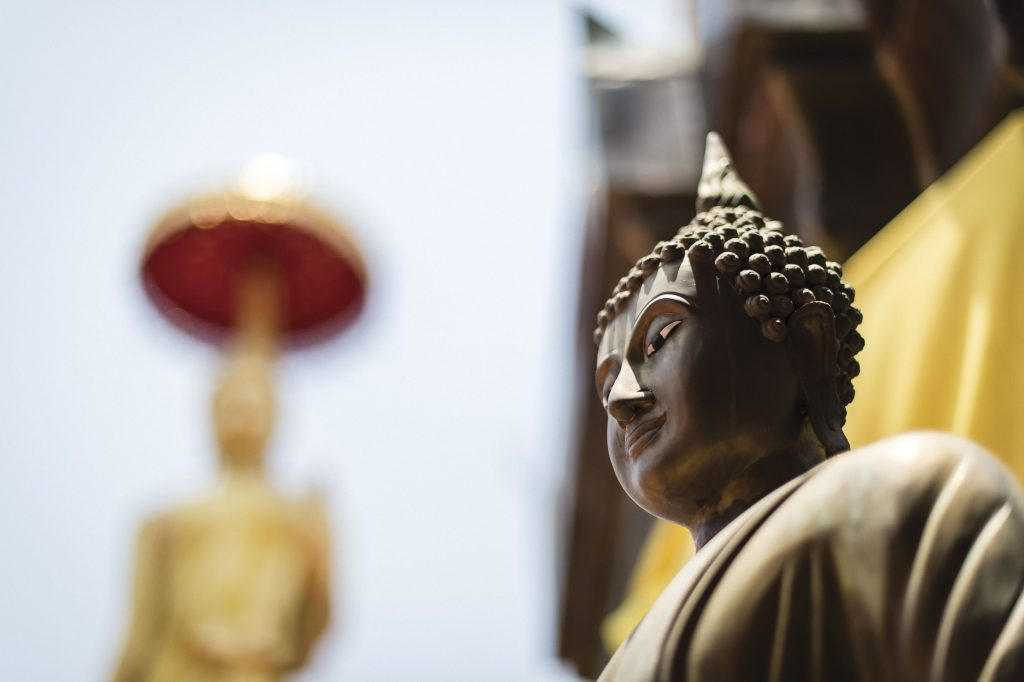 Cultural footage of a temple in Thailand: Statues