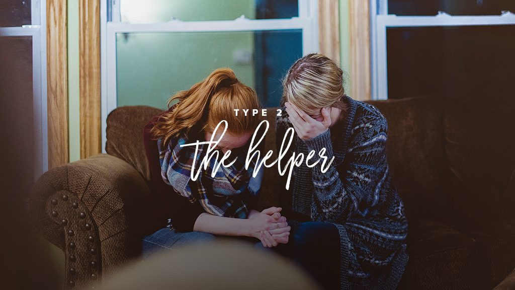 """""""Type 2: the helper"""" two women are praying together on a couch"""