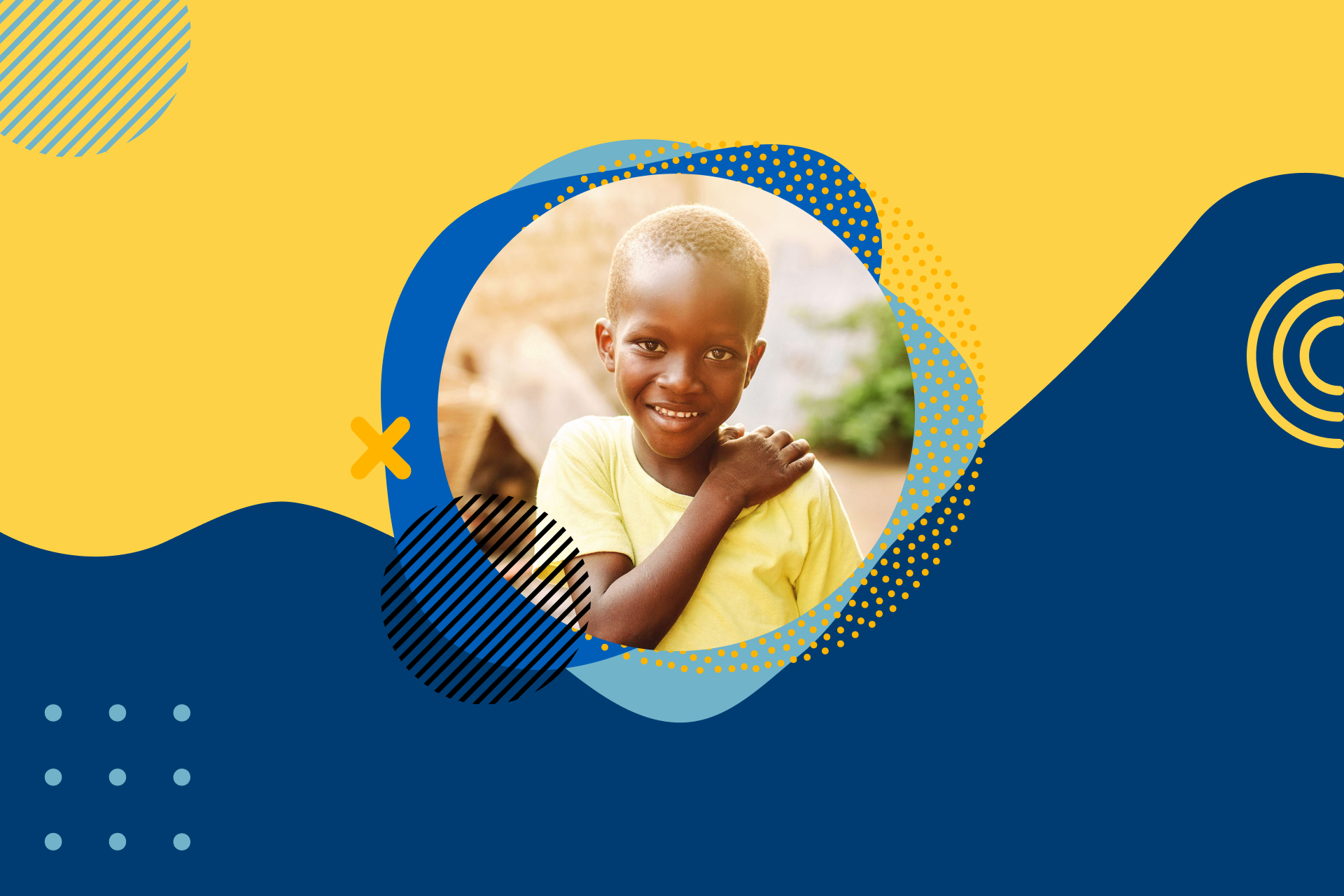 A yellow and blue graphic background with a small image of an African child wearing a yellow shirt in the centre.