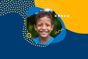 A blue and yellow graphic background with a thumbnail image of a Latin American child wearing a blue shirt.