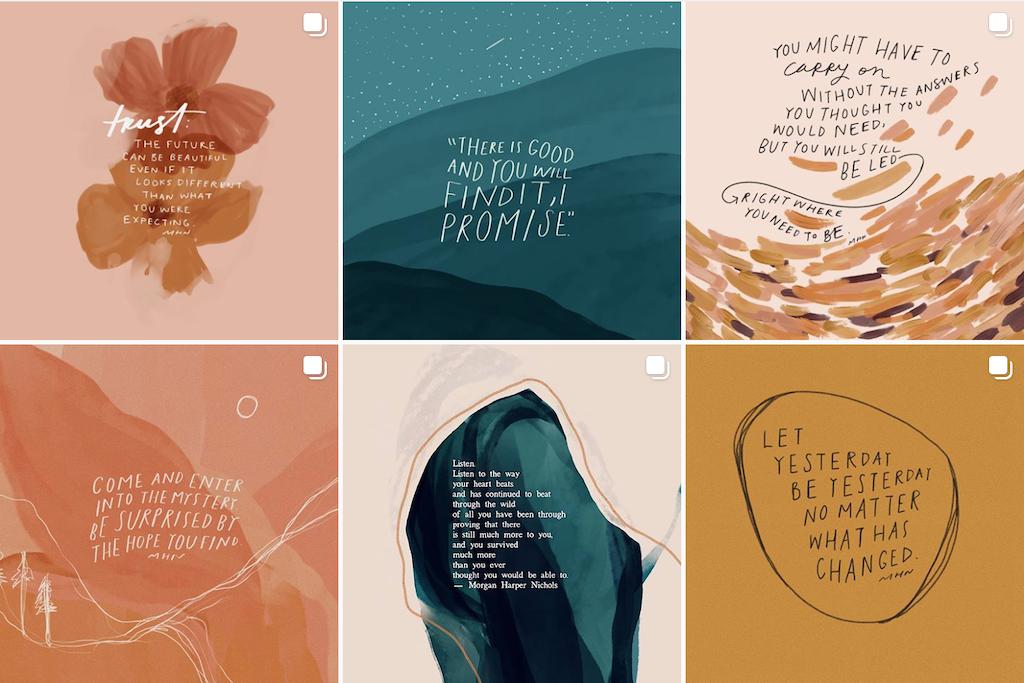 A grid of photos from Morgan Harper Nichols' Instagram account.