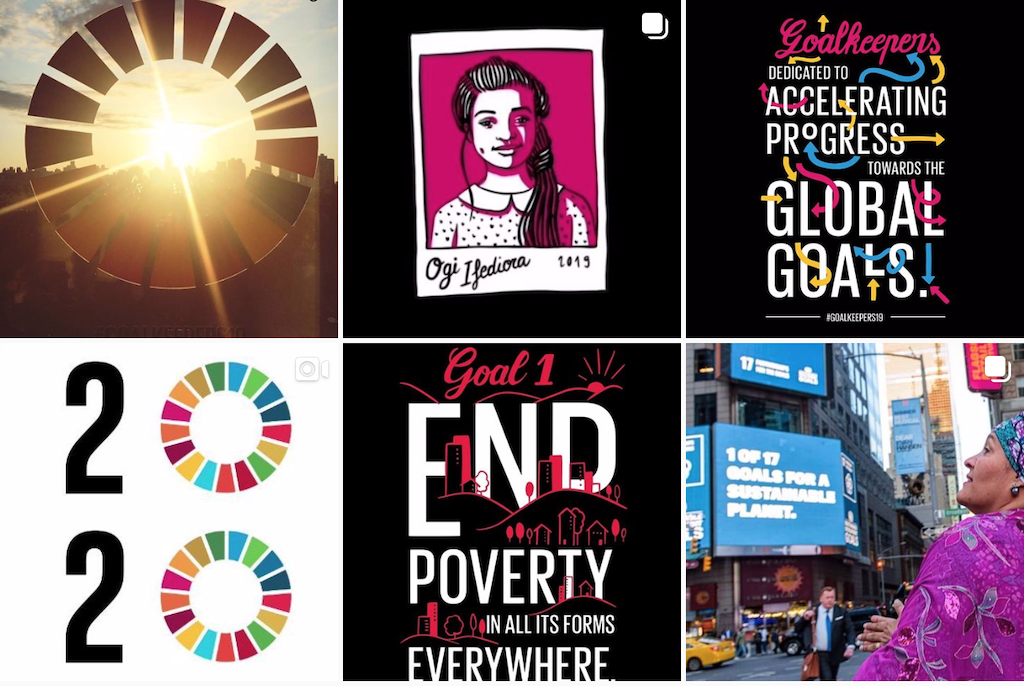 A grid of photos from The Global Goals' Instagram account.