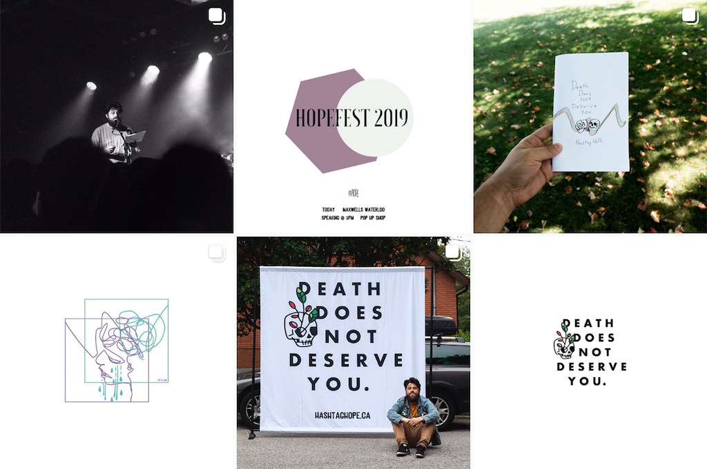 A grid of photos from Hashtag Hope's Instagram account.