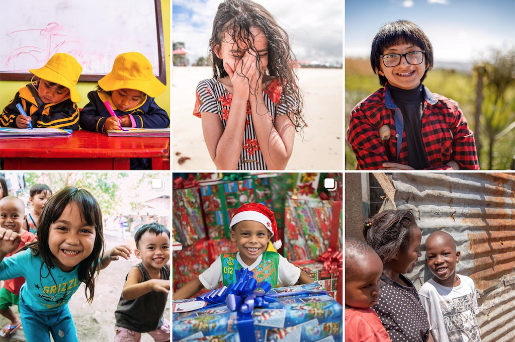 A grid of photos from Compassion Canada's Instagram account.