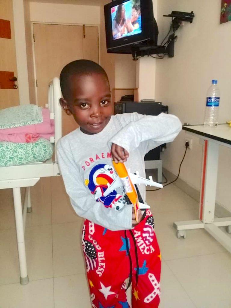Saviour smiling after his second surgery