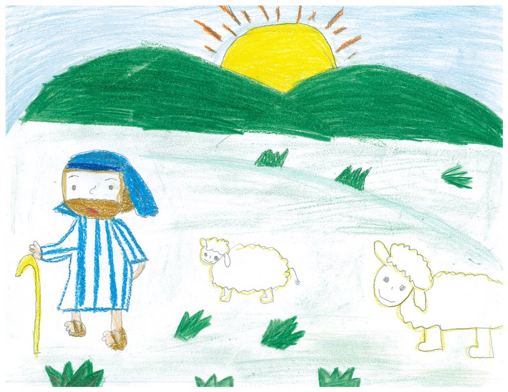 A drawing of a shepherd and sheep in a field.