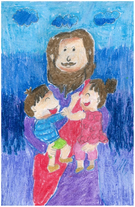A drawing of children on Jesus' shoulders.