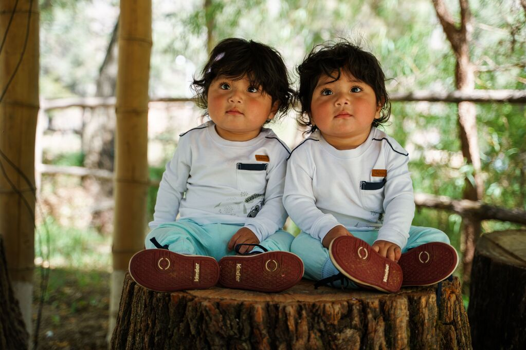 Twin boys dressed in blue pants and white shirts with thick dark hair sit together on a tree stump/