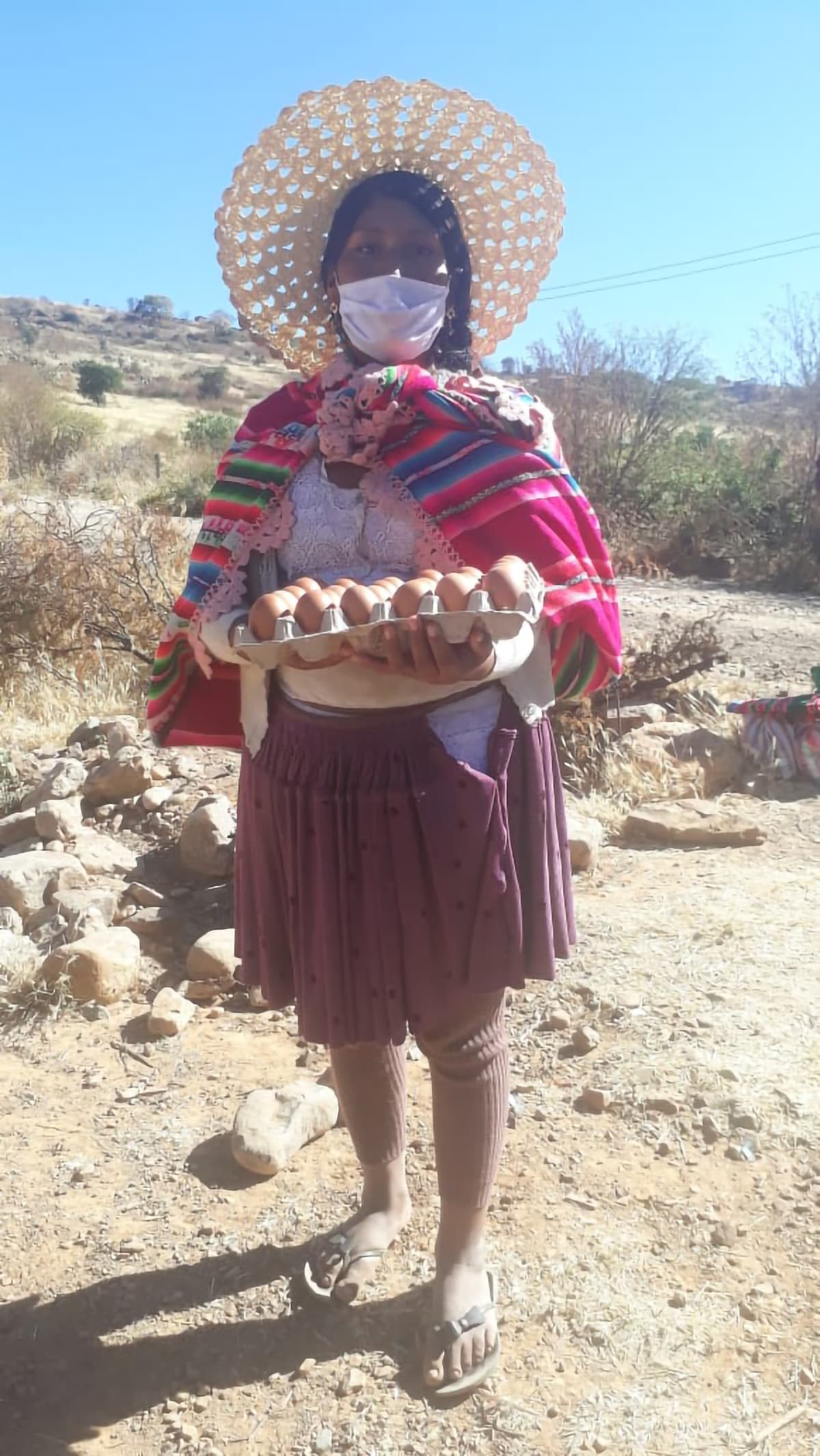 A Bolivian woman, wearing traditional hat and scarf, as well as a surgical mask, holds a flat of brown eggs.