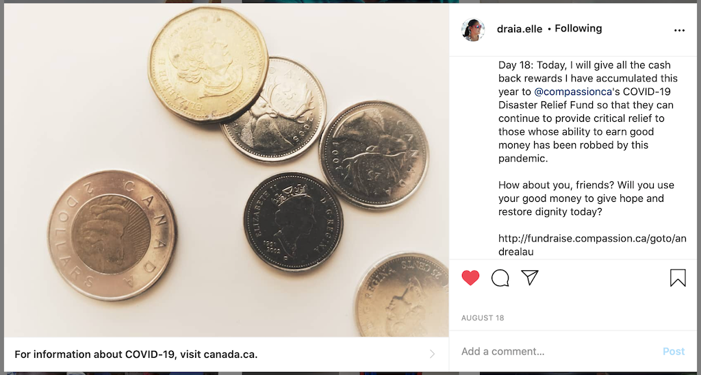 """A screenshot of one of Andrea's """"Thirty Days of Intentional Compassion"""" posts, reflecting on spare change."""