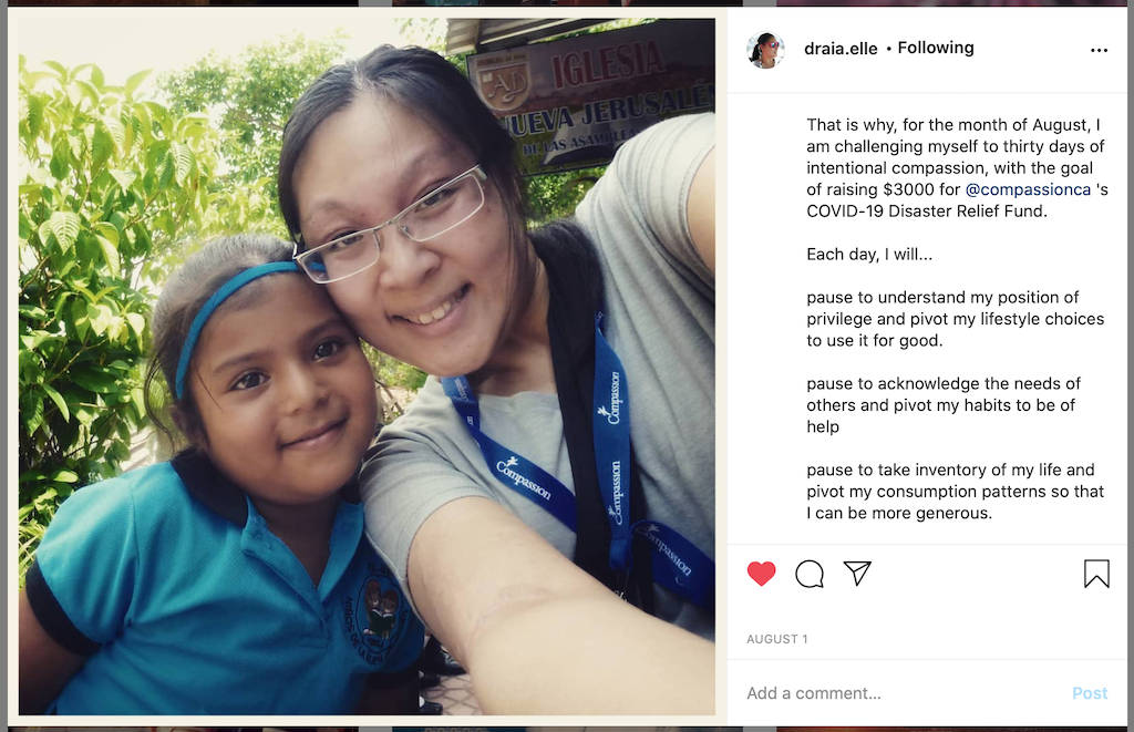 """A screenshot of Andrea's first """"Thirty Days of Intentional Compassion"""" post."""