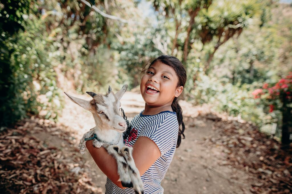 Girl wearing a blue stripped t-shirt holds a goat while laughing.