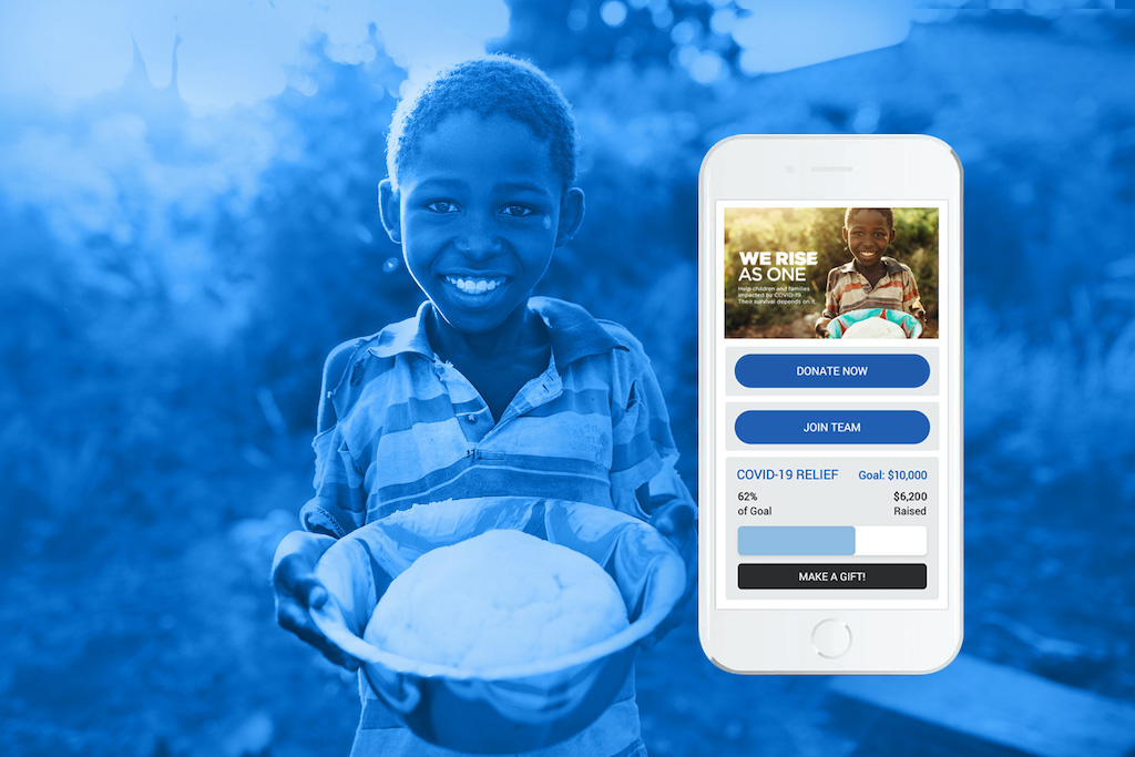 A graphic promoting our online fundraising platform. A phone shows the fundraiser interface.