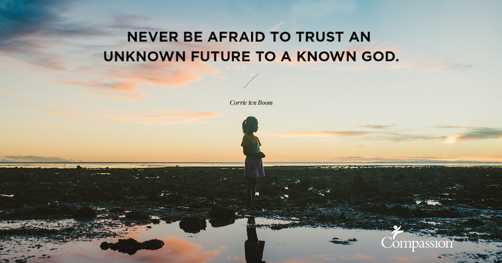 "A silhouette of a girl on a beach. Quote on image says: ""Never be afraid to trust an unknown future to a known God."" – Corrie ten Boom"