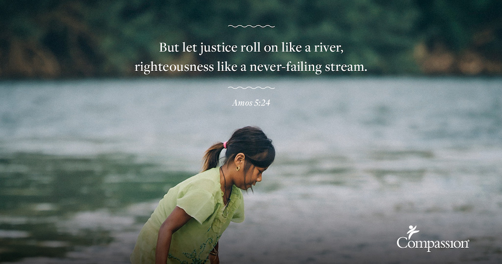 "A Thai girl on the beach. Quote on the photo says: ""But let justice roll on like river, righteousness like a never-failing stream."" – Amos 5:24"