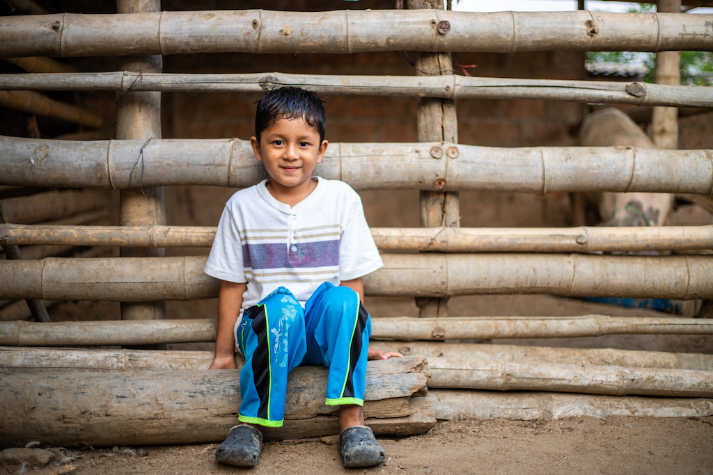 A young Ecuadorian boy sits against a fence made of logs.