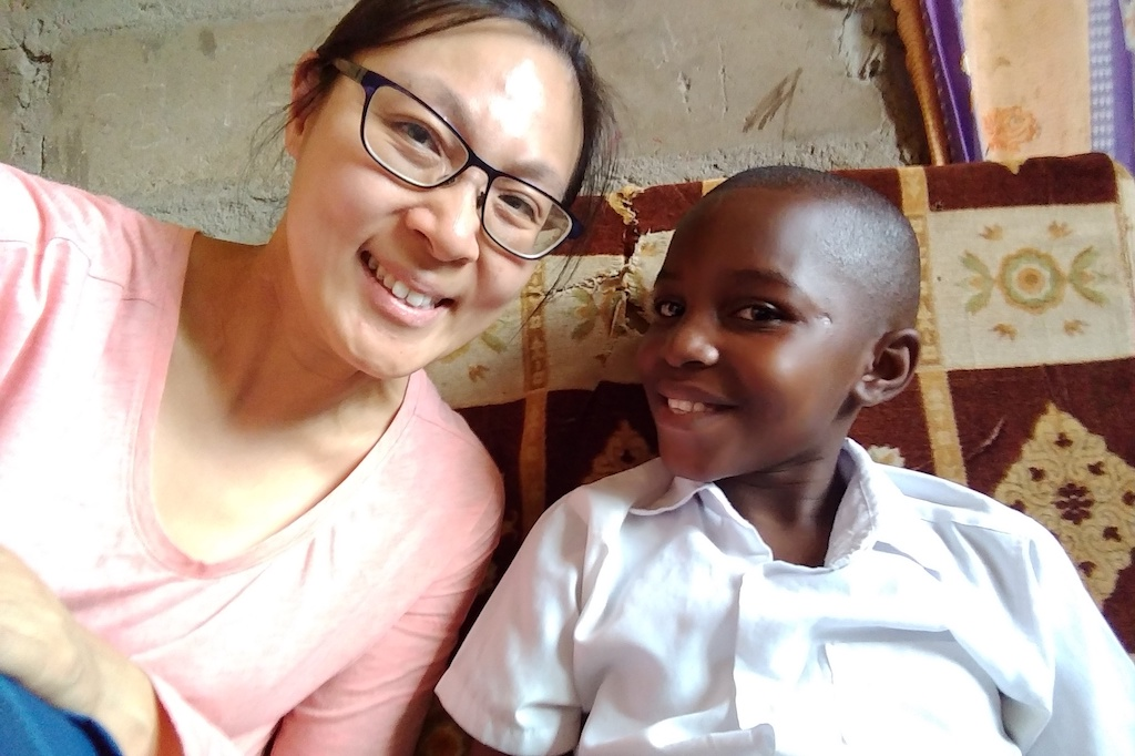 A selfie of Andrea with her sponsored child in Tanzania, Sakina.