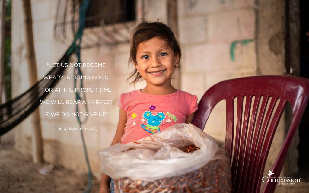 A graphic that includes a photo of a girl in Ecuador and the text of Galatians 6:9.