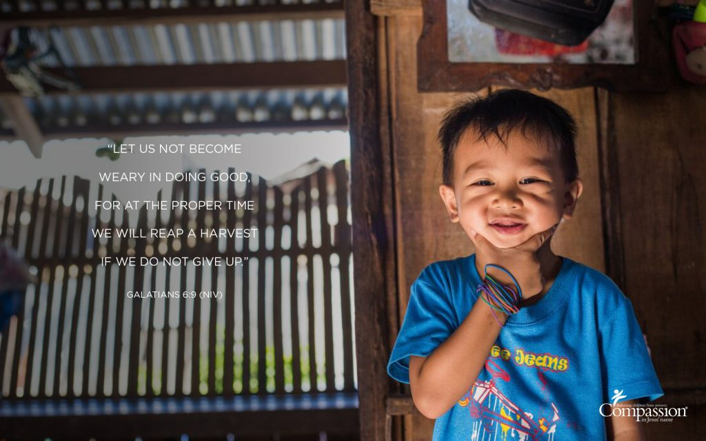 A graphic that includes a photo of a boy in the Philippines and the text of Galatians 6:9.
