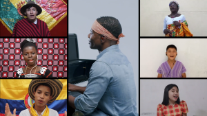 Thumbnail of the Lean on Me music video. Kirk Franklin is in the middle playing piano, surrounded by images of youth from around the world singing.