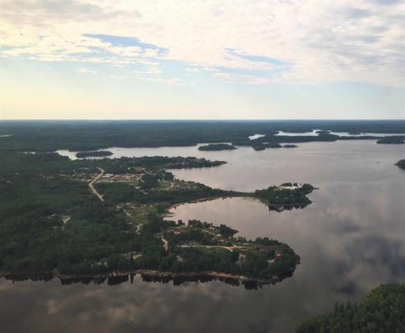 A wide shot of a lake.