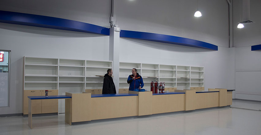 Goodwill SouthPark interior front counters under constuction
