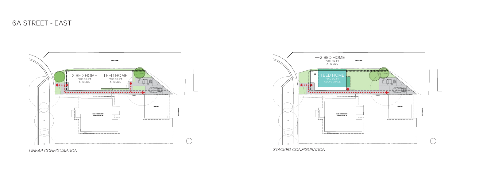 An image of the home configurations on the east side of 6A Street.
