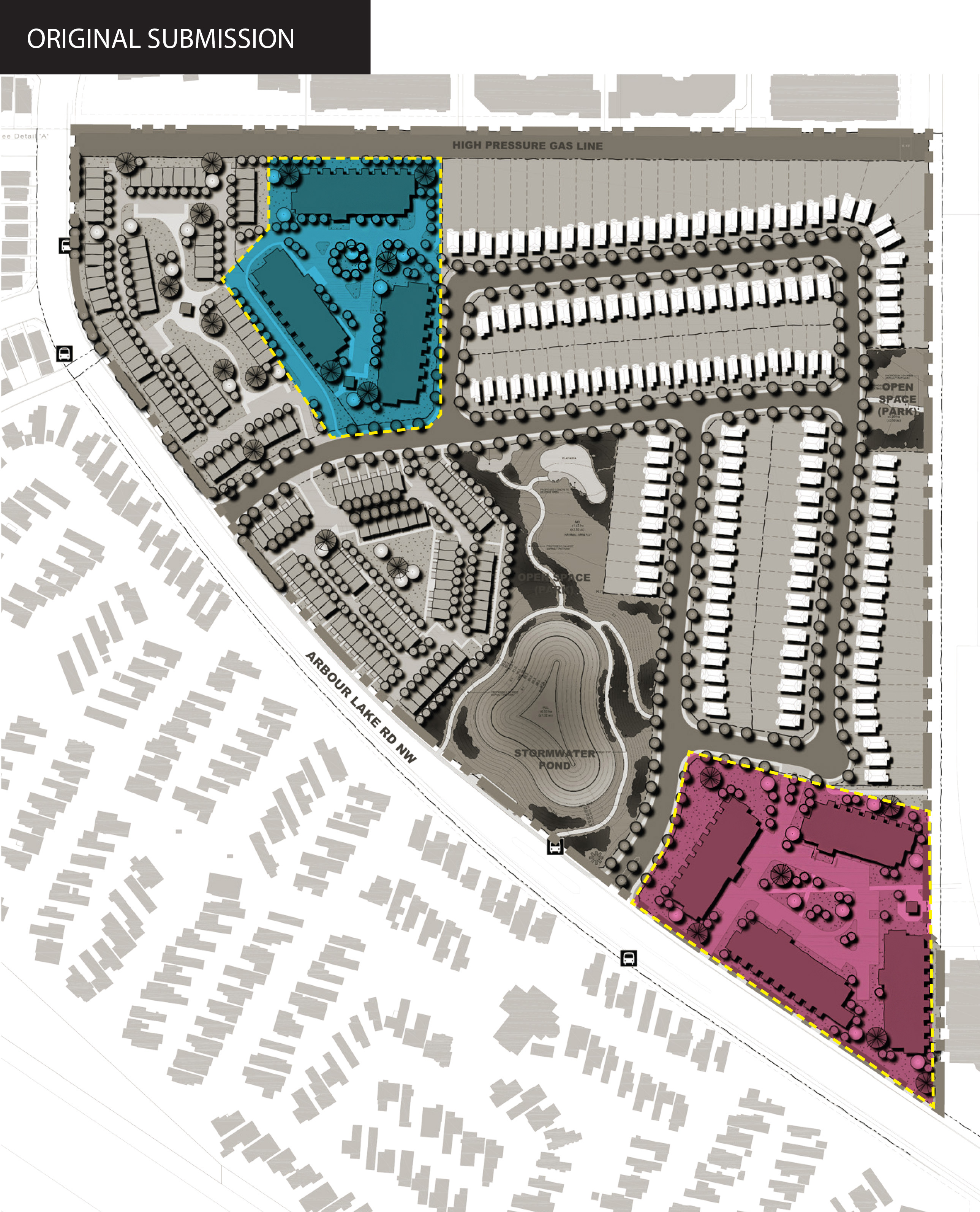 Map showing original locations of proposed apartment buildings.