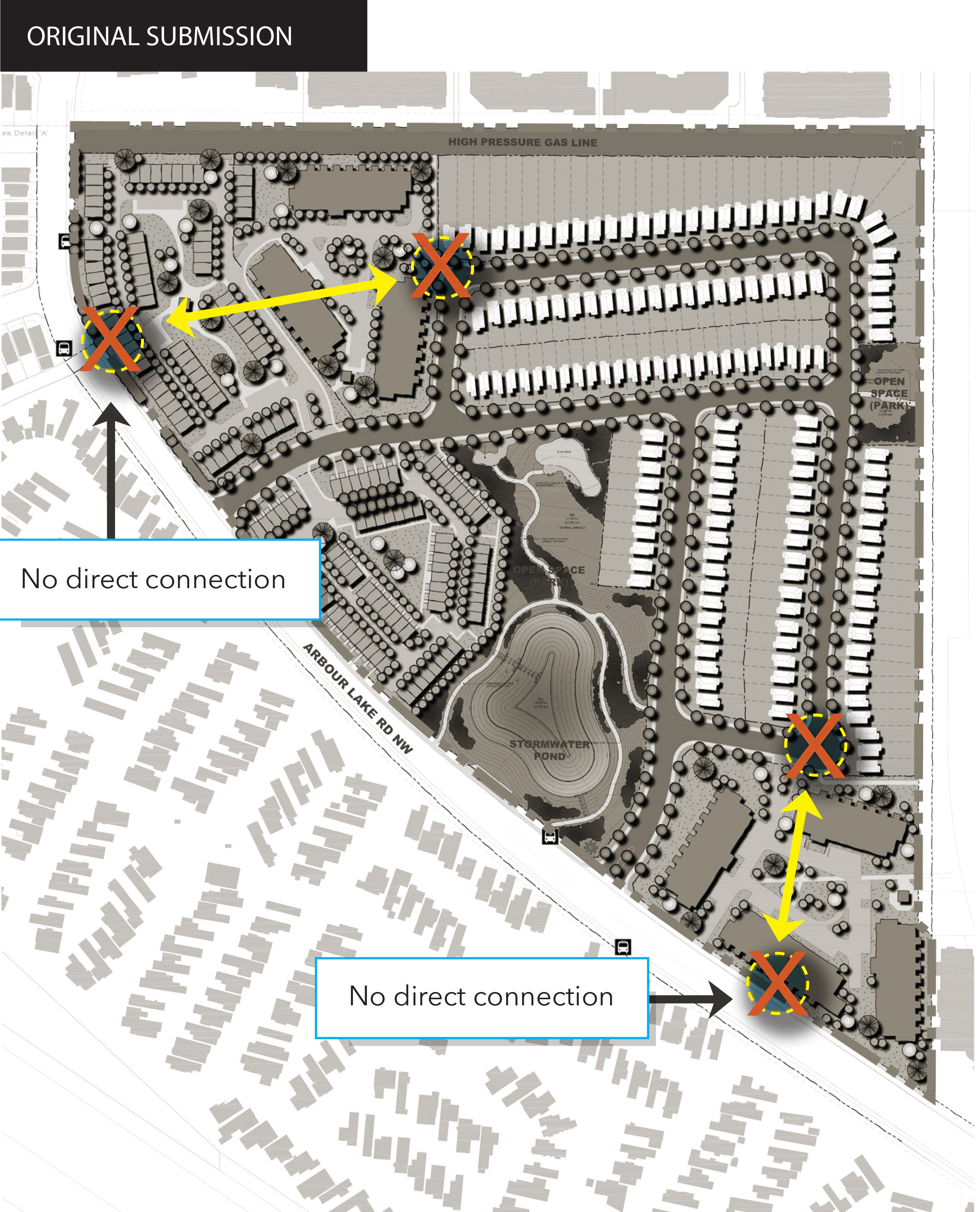 Map showing original site plan, with no direct pedestrian connections.
