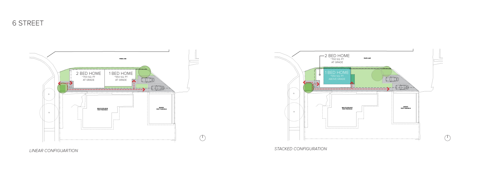 An image of the home configurations on 6 Street.