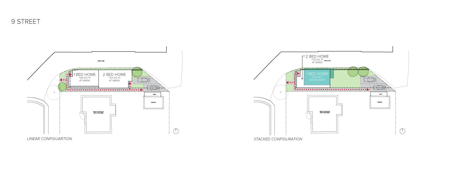 An image of the home configurations on 9 Street.