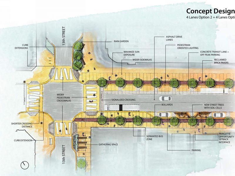 Concept design of option 2 & 3, both 4 lanes
