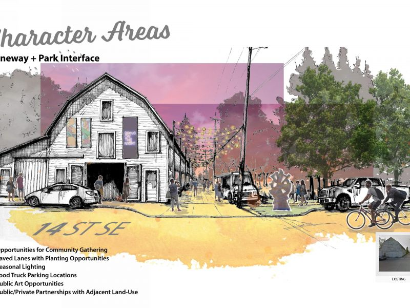 Rendering of laneway and park interface