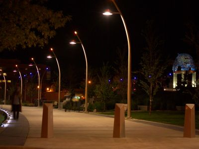 Pedestrian oriented lights on a pathway.