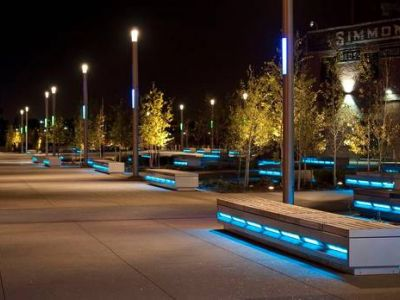 benches with lighting integrated  into the side to help illuminate the pathway