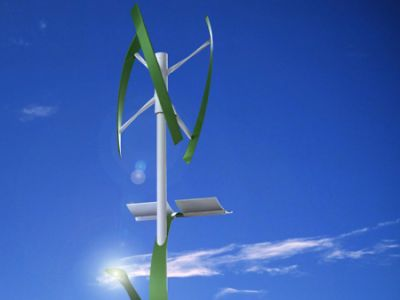 street lights powered by attacehd wind turbines and solar panels