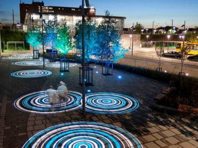 Patterned circles of light projected onto the ground from overhead