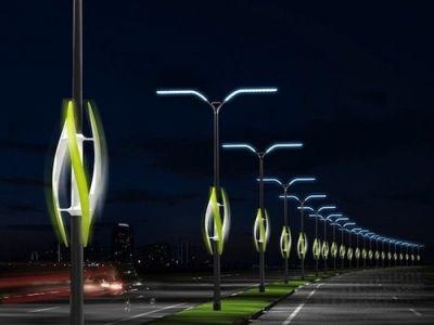 Street lights powered by glowing wind turbines