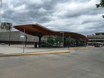Sheltered bus platform next to the LRT station