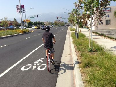 A bike lane painted ont he road. The sidewalk has a line of trees and grass between it and the road.
